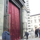 The doors covered before the ceremony of unveiling